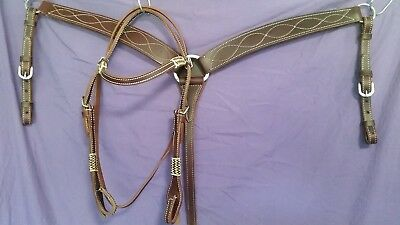 western bridle and breastplate with rawhide wrap. cob sized