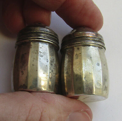 """Sterling silver small individual size salt and pepper shakers, 1 pair, 1.4"""" tall"""