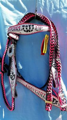 cow girl up Nylon bridle and breastplate set. Cob sized.