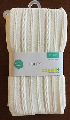 Nwt Capelli New York Kids Fleece Lined Ivory Tights Girls Size Medium 7/10