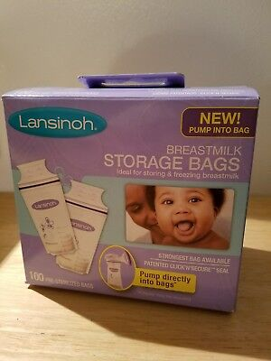 Lansinoh Breastmilk Storage Bags, 100 Count, BPA & BPS Free, Fits on Pump
