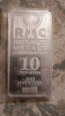 10 oz Silver Bar - Republic Metals Corp. (RMC) Sealed in plastic