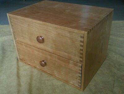 Dovecote cherry wood sewing cabinet fly tying jewelry chest 2 drawers box joints