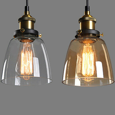 Modern Vintage Loft Glass Ceiling Lamp Shade Hanging Industrial Pendant Light