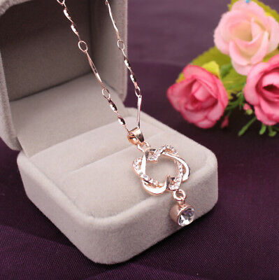 Double Heart Pendant Necklace Chain Jewelry For Girl Women Fashion Silver Plated