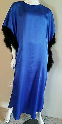 LUCIE ANN of BEVERLY HILLS Royal Blue Gown Black Feathers Caftan Long Gown