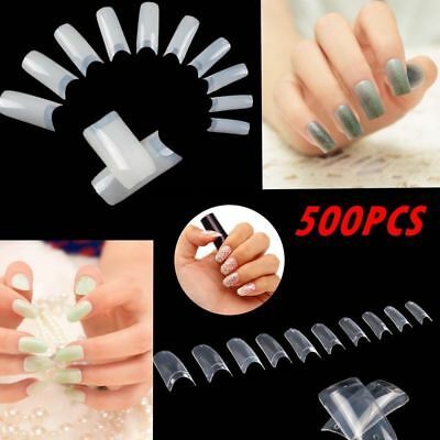 1000/500X French Tips Nails Cover Press On Natural Finger Toe False Fake Wedding