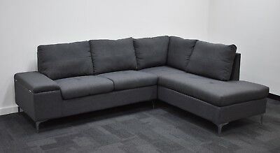 Lounge, Sofa, Suite Couch Corner Suite with inbuilt storage box in Fabric