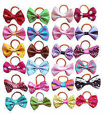 Mixed Pet Small Dog Hair Bows Rubber Bands Puppy Cat Grooming Accessory X4 pcs