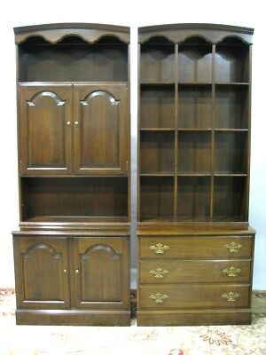 Vintage Solid Cherry Ethan Allen Two-Piece Bonnet Top Wall Units