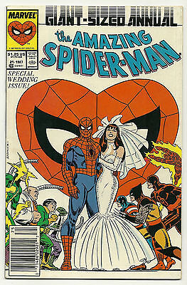 Amazing Spider-Man 1987 Annual #21 Spider-Man Cover Very Fine Wedding Issue