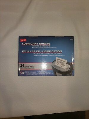 Staples Shredder Lubricant Sheets 24/pk Paper Shredder, New