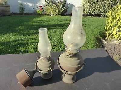(2) Matching, Vintage Perko Marine Brass Gimbal Cabin Lamps, With Chimneys, Used