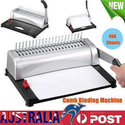 AU 450 Sheets Office Paper Punch Binder Comb Binding Machine 21 Hole
