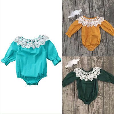 Toddler Newborn Baby Girl Lace Long Sleeve Romper Playsuit Clothes Outfit Cotton
