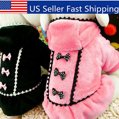 US Pet Small Dog Warm Sweater Coat Shirts Puppy Cat Bowknot Shirt Dress Apparel