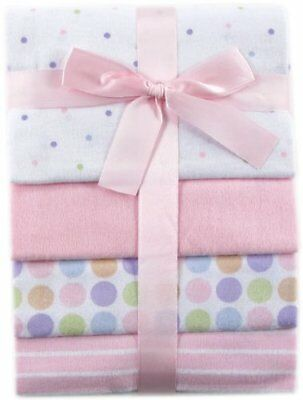 NEW 28 x 28 Inches Luvable Friends 4 Pack Flannel Receiving Blankets Pink