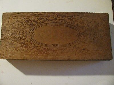 FLEMISH ART Wood PYROGRAPHY Box Ties VINTAGE roses