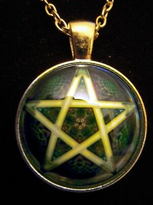 """Forest Green Pentagram Silver Pendant Magic Druid Pagan Protection Gift Bag 19"""""""