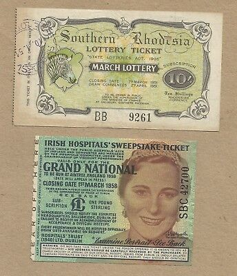 Irish and S Rhodesia Lottery Ticket stubs. (1951 and 1958).(Ref 165)