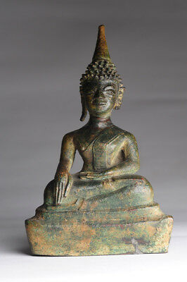 Antiker Buddha LAOS 18.  Jhd. ORIGINAL 19 cm Bronze antique alt Yoga
