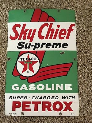 Vintage Texaco Porcelain Sign Sky Chief Supreme 3-9-64 Dated. Phenomenal Quality