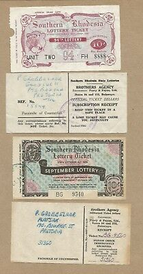 S Rhodesia Lottery Ticket stubs. and purchase receipts. (4 tickets)..(Ref 167)