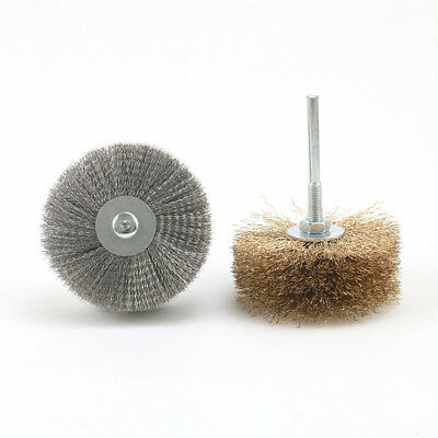 Brass Stainless Steel Wire Brush Wheel 1/4'' Shank For Rotary Tools Drills Rust