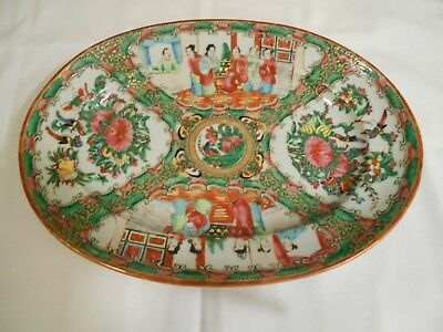 Chinese Export Rose Medallion Porcelain Late 19th Century Oval Serving Platter