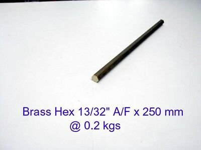 "Brass Hex 13/32"" A/F x 250 mm-Lathe-Steam-Mill-OG"
