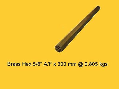 "Brass Hex 5/8"" A/F x 300 mm--Lathe-Steam-Mill-OG"