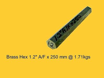"Brass Hex 1.2"" A/F x 250 mm-Lathe-Steam-Mill-OG"