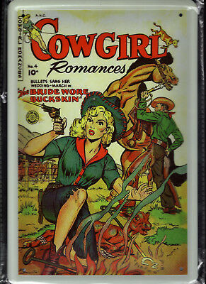 Blechschild 20x30 - NEU new Metal sign - Cowgirl Comic-Wilder Westen-Titelseite
