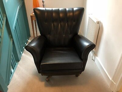G Plan Wing Back Swivel Chair Black Leatherette - Replica in good condition