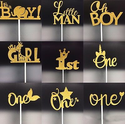1Pc Cake Topper One Oh Boy Girl Unicorn Gold Silver Pink Glitter Baby Party DIY