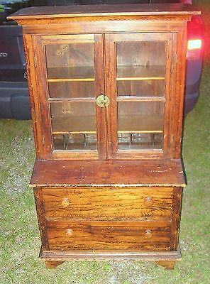 Antique Childs Cupboard-grain paint decoration,awesome condition