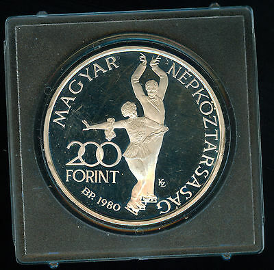 1980 Hungary Lake Placid Olympic Silver Proof 200 Forint