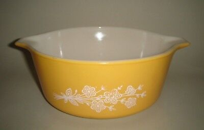 PYREX Butterfly Gold 750ml Nesting Mixing Bowl or Casserole Dish Orange White