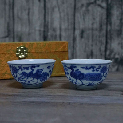 Pairs Of Exquisite Chinese Antique Blue and White Porcelain Cups Marks Chenghua