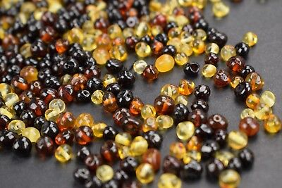 Baltic Amber loose beads Genuine Polished round colors 10/20/30/50g Multicolored