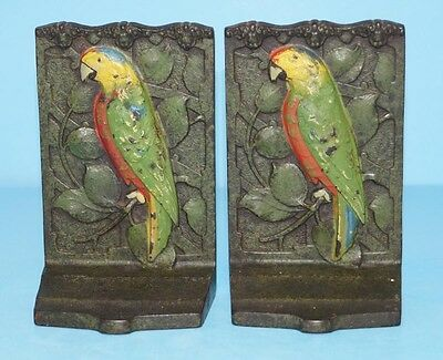 ANTIQUE PARROT ON BRANCH CAST IRON BOOKENDS METAL ART JUDD CO. CJO CIRCA 1920s