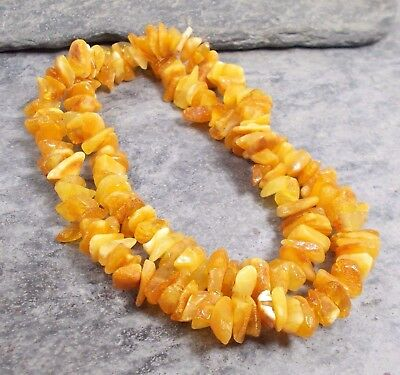 """Baltic BUTTERSCOTCH AMBER Nugget Bead Adult Necklace 18"""" N13"""