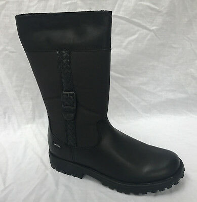 BNIB Clarks Rhea Go GTX Girls Black Leather Gore-Tex Boots F, G & H Fitting