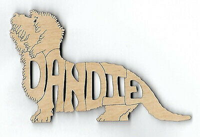 Dandie Dinmont Terrier Dog laser cut and engraved wood Magnet