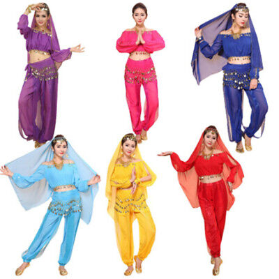Women's Belly Dance Costumes Set Indian Dancing Dress Clothes Top Pants P&T PL