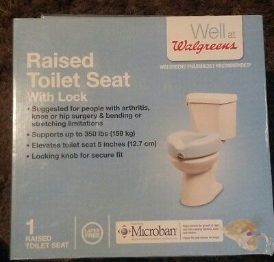 Walgreens Raised Toilet Seat With Lock Protected By Microban NEW DAMAGED BOX