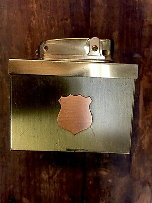 Crown Table Lighter Fireman Police Badge Gold Tone Unique