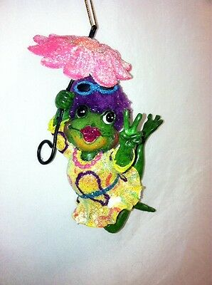 "katherine's collection frog pink umbrella Ornament Groovy 5"" x 2 1/2"" retired"
