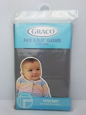 """NEW Graco Pack 'N Play Playard Fitted Sheet, Stone Grey. Dimensions 39"""" x 27"""""""