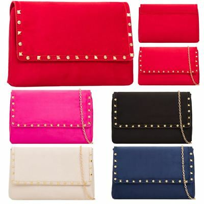New Studded Faux Suede Chain Strap Ladies Prom Party Clutch Bag Purse